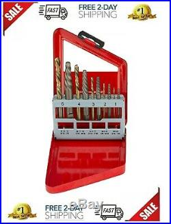 10pc COBALT LEFT HAND DRILL BIT AND SCREW EXTRACTOR SET EASY OUT BOLT 01925A