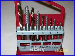 10pc. SCREW EXTRACTOR / EASY OUT & LEFT HAND COBALT DRILL BIT SET NEIKO TOOLS USA