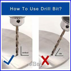 115Pcs Cobalt Twist Drill Bit Set M35 Jobber Length with Storage Box for Metal W