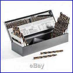 115pc Piece Metal Cobalt Fractional Drill Index Bit Set Kit For Steel Cobalt