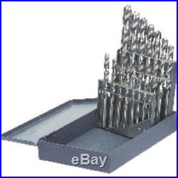 15 Pc Cobalt Drill Bit Set 1/16 to 1/2 by 32nd Heavy Duty Jobber USA MCT 18167