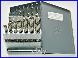 15 Piece Super Cobalt Drill Bit Set Twist Jobber 1/16 to 1/2 by 32nd USA 307CR
