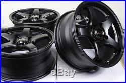 15x6.5 Kudo Racing Tenjin Single Drill 4x100 +38mm Matt Black Wheels Rims Set(4)