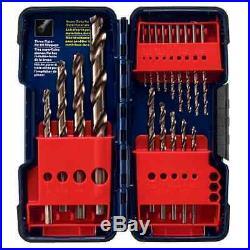18-Piece 135-Degree Split Point Cobalt Twist Drill Assortment Set/Plastic case