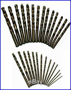 1/16 1/2 Cobalt Jobber Drill Bit Set, Shatter Proof Case, 29 Pieces 1/64 I