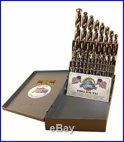 21 Pc Cobalt M42 Drill Bit Set 1/16 to 1/2 by 32nds DRILL HOG USA