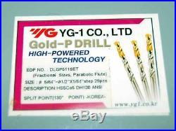 28 Pcs. YG-1 5/64-1/2x64th 5% Cobalt Gold-P Parabolic Jobber Drill Set
