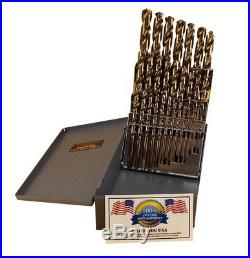 29 Pc Cobalt Drill Bit Set M42 HSS 29pc USA Drills Lifetime Made in USA