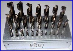 29 Pcs. Drill America 1/16-1/2x64th M42-8% Cobalt Stub Drill Set withHuot Stand