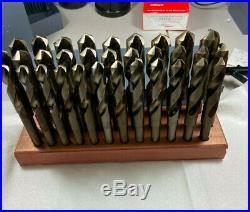 32 PC Drill Set 1/2 -1 by 64s Cobalt S&D, Silver & Deming, HSS Wood Block