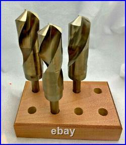 3 PC Drill Set 1-1/6, 1-1/8 & 1-1/4 Cobalt HSS S&D, Silver & Deming, Wood Block