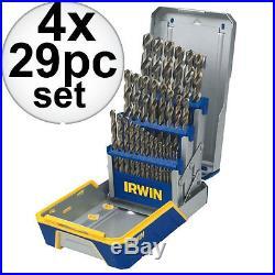 4x 29 Piece Drill Bit Industrial Set-Cobalt M42 Irwin 3018002B New