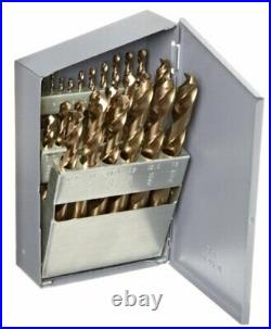 550 Series Cobalt Steel Jobber Length Drill Bit Set with Metal Case, Gold Oxide