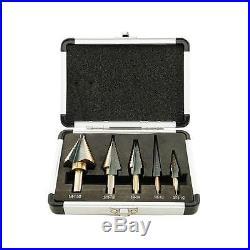 5PCS HSS COBALT MULTIPLE HOLE 50 Sizes STEP DRILL BIT SET&Aluminum Case+GOOD AAA