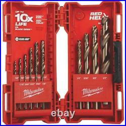 5 Pk Milwaukee Red Helix High-Quality Performance 15-Piece Cobalt Drill Bit Set