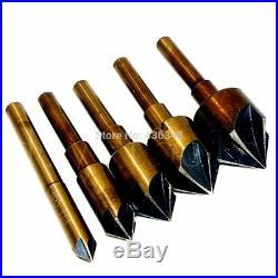 5pcs Tri-flat Hss Industrial Cobalt Countersink Drill Bit Set Chamfer Cutter