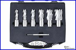 6pc Set Annular Cutter Cobalt 3/4 Weldon Shank 9/16 1-1/16 Magnetic Drill Bit