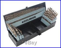 AccusizeTools M35 HSS+5% Cobalt Premium 115 Pcs Drill Set, Industrial grade, +