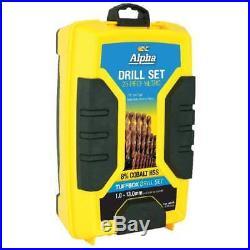 COBALT Drill Bit Set Metric Alpha Metal Gold Jobber 1.0-13.0mm Sterling 25pcs