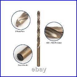 COMOWARE Cobalt Drill Bit Set- 115Pcs M35 High Speed Steel Twist Jobber Lengt