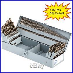 COMOWARE Cobalt Drill Bit Set- 115Pcs M35 High Speed Steel Twist Jobber Length