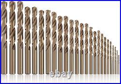 COMOWARE Cobalt Drill Bit Set- 25Pcs M35 HSS Twist Jobber Length for Hardened Me
