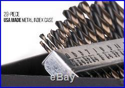 Capri Tools Heavy Duty Cobalt Drill Bit Set, Jobber Length with Index Box