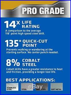 Century Drill 26129 Cobalt High Speed Steel Drill Bit Set 1/16 to 1/2, 29 pcs