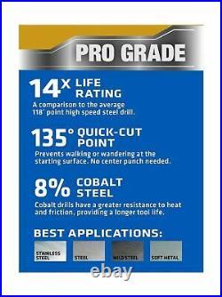 Century Drill & Tool 26115 Pro Grade Cobalt Drill Bit Set, 15-Piece