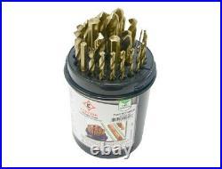 Cle-Line C10629 1/16 in. 1/2 in. Gold Oxide Cobalt Twist Drill Bit Set 29Pc