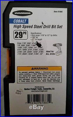 Cobalt 61885 High Speed Steel Drill Bit Set 29PC. NEW Fee shipping