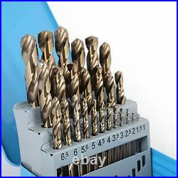 Cobalt Drill Bit Set- 25Pcs M35 HSS Twist Jobber Length for Hardened