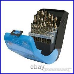 Cobalt Drill Bit Set 25pce 1-13mm for alloys, steel cast irons titanium