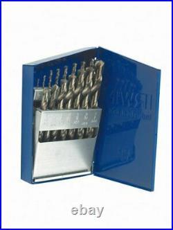 Cobalt Fractional Straight Shank Jobber Length Metal Index Drill Bit Set, 15pcs