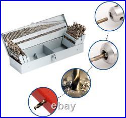 Comoware Cobalt Drill Bit Set- 115Pcs M35 High Speed Steel Twist Jobber Length F