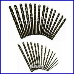 DRILL AMERICA DA29JCOPC 1/16-1/2 Cobalt Jobber Drill Bit Set, 29 Pieces