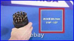 DWD29J-CO-PC 29 Piece M35 Cobalt Drill Bit Set in Round Case 1/16 1/2 X