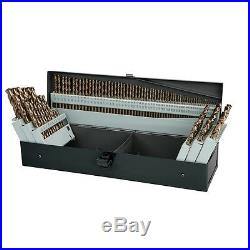 Drill Bit Cobalt Cut Steel Tool Set 115 pc Fraction & Letter Sizes Storage Case