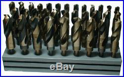 Drill Bit Set, 1/2-1 Dia, 33 Pc, Cobalt, Reduced Shank, Qty 1