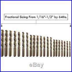 Drill Bits SharpSKIL Premium M42 Cobalt Set HSS Industrial Grade Bits, 29 Pieces