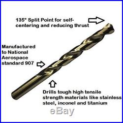 Drill Jobber Drill Bits America D/A29J-CO-PC Piece Cobalt Steel Length Drill Set
