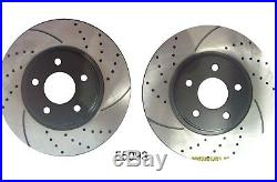 Front and Rear Set Premium Performance Drilled & Slotted Disc Brake Rotors