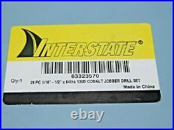 Interstate INCOMPLETE 28 Piece Cobalt Jobber Length Drill Set 1/16-1/2 63323570