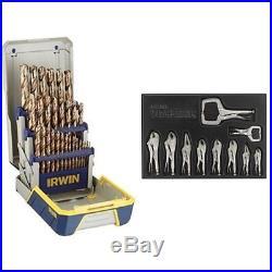 Irwin Cobalt Metal Index Drill Bit Set and VISE-GRIP Original Locking Tool Se