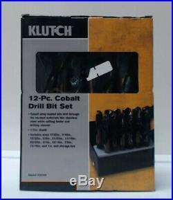 Klutch Cobalt Drill Bit Set 1/2in. Dia. Shank, 12-Pc. Set 42049