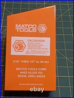 Matco tool 29 Piece Cobalt Mechanics Lgth Reduced Shank Hyper Step Drill Bit Set