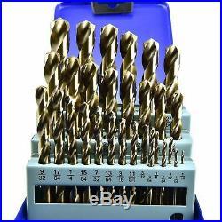 MaxTool 29 Piece Twist Jobber Length Drill Bit Set 5% Cobalt High Speed Steel