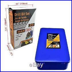 MaxTool 29 Piece Twist Jobber Length Drill Bit Set 8% Cobalt High Speed Steel