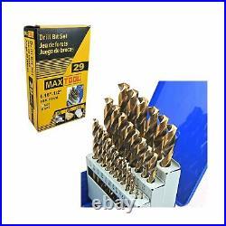 MaxTool 29 Pieces Drill Set 29PCs/29-Piece Twist Drill Bit Set 8% Cobalt HSS