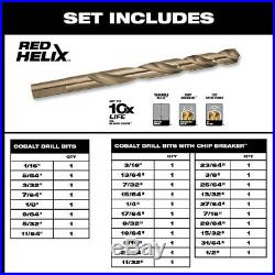 Milwaukee Cobalt Twist Drill Bit Set 35° Helix Angle Black Oxide (29-Piece)